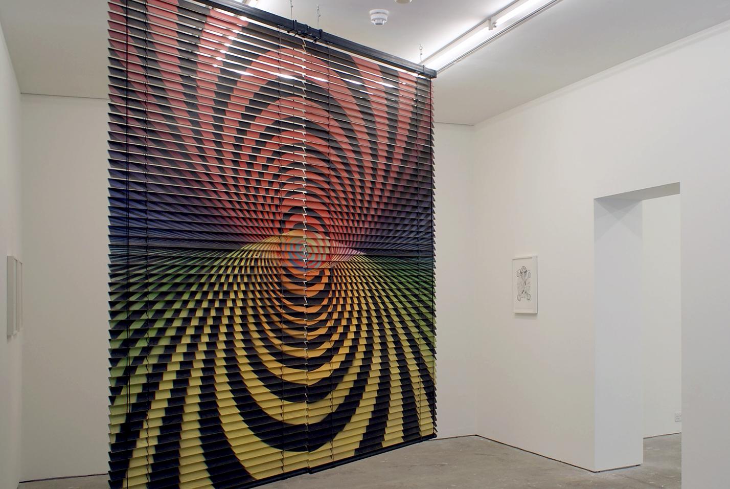 Chris Evans, *Repeat Horizon*, airbrush on oak slats, 2007.