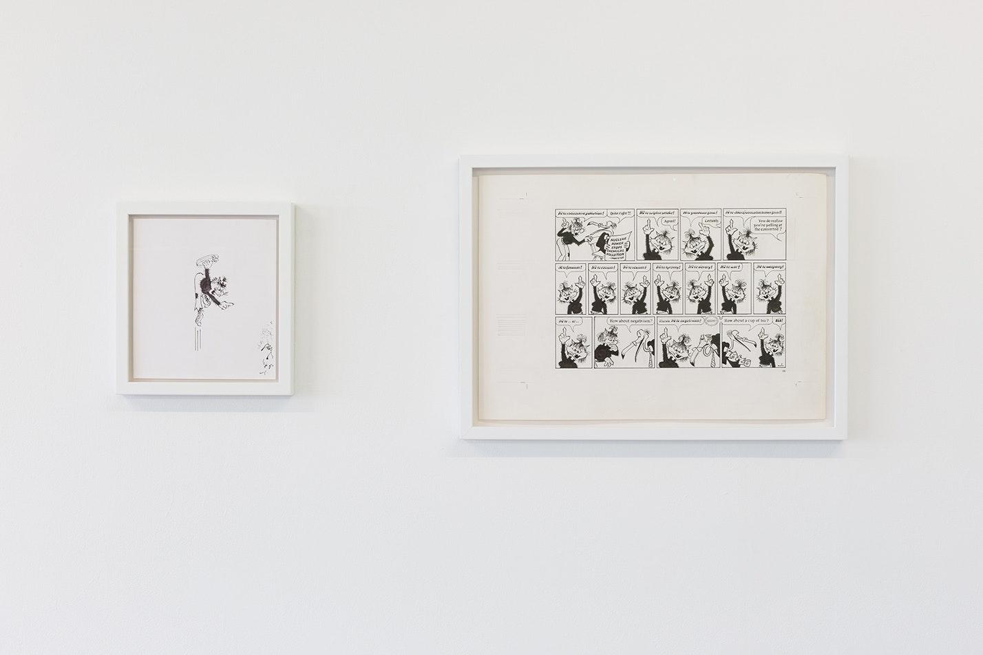 Donald Rooum, original drawings for comic strip, 1975–2014. Photo by Tom Nolan.